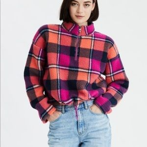 AE fuzzy plaid pull over